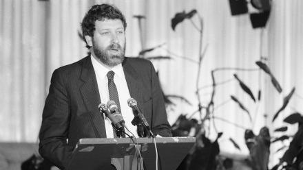 Professor Desmond Ball at a book launch in 1985.