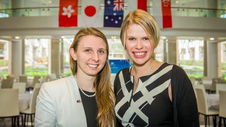 New Colombo Plan scholars Rebecca Wardell (left) and Emma Roberts. Nicholas Horton is already overseas.