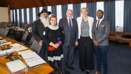 New ANU Council members. From left to right: Professor Patrick Dodson, Professor Suzanne Cory, Chancellor Gareth Evans, Naomi Flutter and Ben Niles.