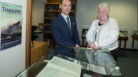 National Archives Director-General David Fricker and ANU Chief Librarian Roxanne Missingham at the launch of the ANU Archives database.