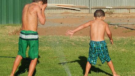 Boys summer sprinklers.