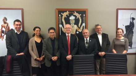 University of Hawai'i Chancellor Tom Apple (third from right) with staff from the ANU College of Asia and the Pacific after signing the new memorandum of understanding.