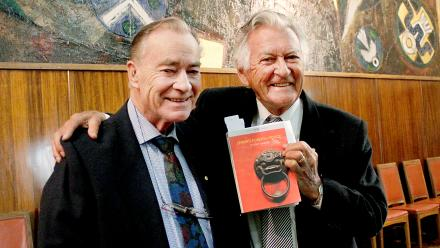 Former Prime Minister Bob Hawke and Emeritus Professor Stuart Harris and the book launch of China's Foreign Policy