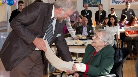 Professor Harvey Butcher former Director of the Research School of Astronomy and Astrophysics with Joan Duffield on her 100th birthday.