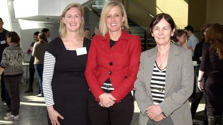 Dr Julia Ellyard (left), ACT Chief Minister Katy Gallagher, and Professor Judith Whitworth. Photo Karen Edwards, ANU