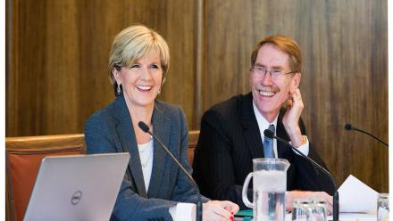 Foreign Minister Julie Bishop and Vice-Chancellor Ian Young AO, at the opening of the Arab World, Iran and Major Powers Conference.