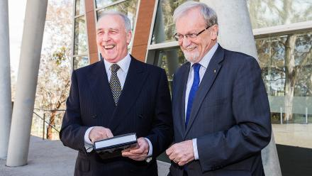 """Former Prime Minister Paul Keating and Chancellor Gareth Evans at the launch of """"Inside the Hawke-Keating Government: A Cabinet Diary""""."""