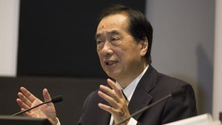 Former Japanese Prime Minister Naoto Kan speaking at the ANU.