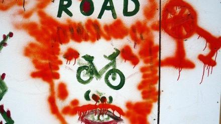 Grafitti of person suffering from road rage