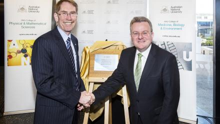 ANU Vice-Chancellor, Professor Ian Young AO and Federal Minister for Small Business Bruce Billson.