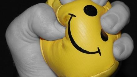 Photo of hand squeezing stress ball
