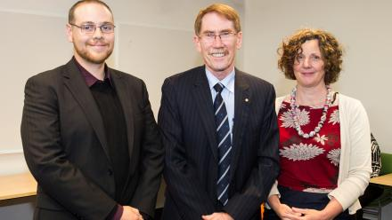 Mr Chris Browne, ANU Vice-Chancellor Professor Ian Young AO, Associate Professor Christine Phillips