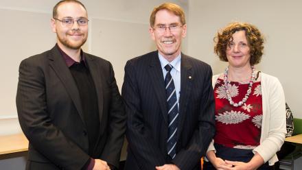 Mr Chris Browne, ANU Vice-Chancellor Professor Ian Young AO, Associate Professor Christine Phillips