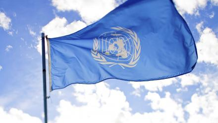 U.N. Flag blowing in the wind