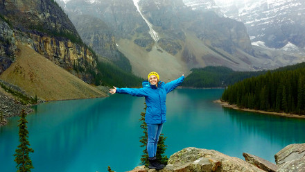 ANU student at Moraine Lake in Canada