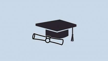 Logo of graduation cap and a diploma