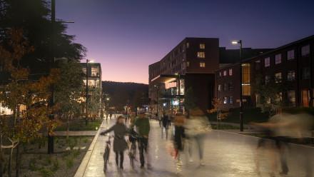 long exposure shot of University Avenue at dusk
