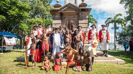 Photo of First nations people and others dressed in colonial attire
