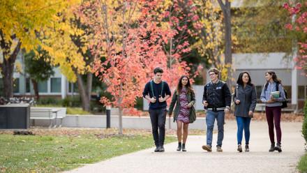 ANU students walking and talking