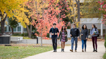 ANU students walking and talking