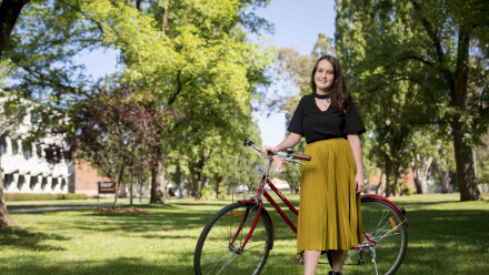 A student with her bike
