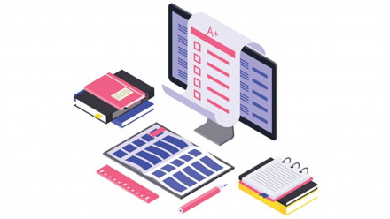 Graphic of books and computer