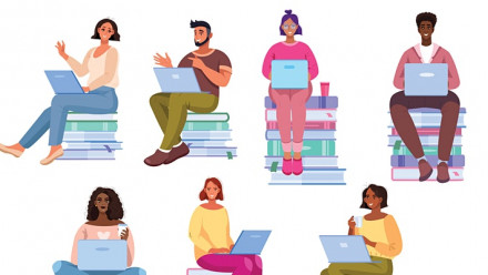 Graphic of students sitting on books and with laptops