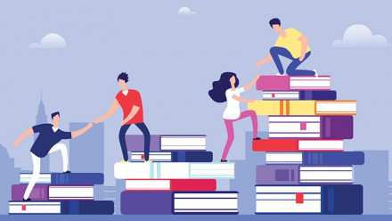 Graphic of people and books