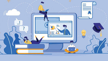 Drawing of computer and students studying
