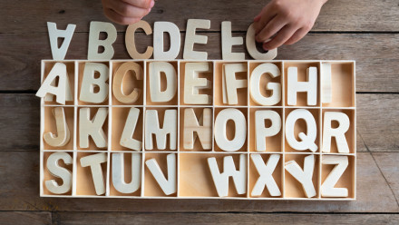Box with alphabet wooden letter. Child like hands organising letters into the appropriate section.