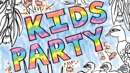 Written Kids party with Aus Nature drawing border