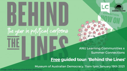 Promotional poster for Free guided tour: 'Behind the Lines' exhibition January 19th 2021, 11am-1pm