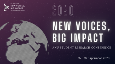 Purple promotional banner for the 2020 ANU Student Research Conference displaying the Conference theme: 'New Voices, Big Impact.'