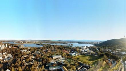 Ariel shot of ANU campus