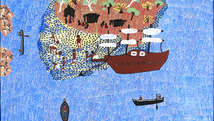 Nancy Yukuwal McDinny, Macassenstory (around the Sir Edward Pellow Islands in Gulf), 2019, acrylic on canvas, 80 x 130 cm. Australian National University Art Collection, acquired 2020.