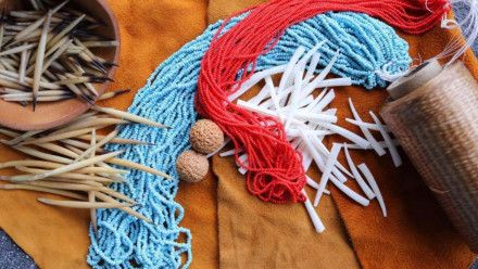 Samples of materials for beadwork