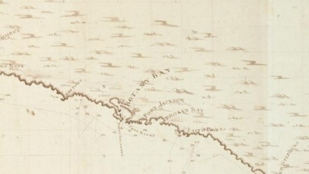 Antique map of Australian coast, showing Botany Bay