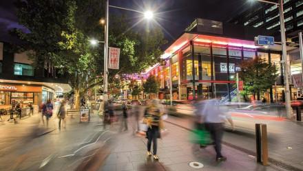 Bunda St, Canberra at night.