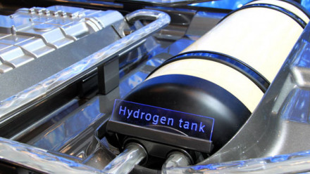 Image shows a hydrogen fuel tank.