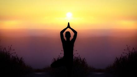 Yoga under the sunset
