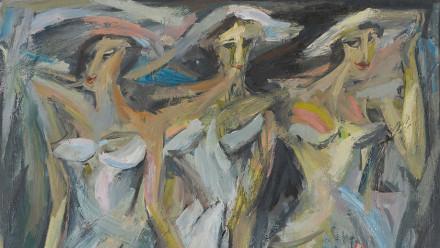Jon Molvig, The Bridesmaids (detail) 1956, oil on masonite, 152.4 x 122 cm