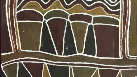 Image: Nym Bandak, Totemic map of the Port Keats Region, c. 1959, natural pigments on masonite board.