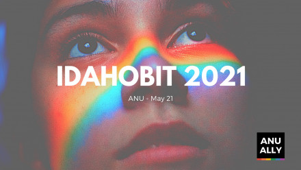 AN UPCLOSE IMAGE OF A YOUNG PERSONS FACE WITH A RAINBOW REFLECTION ACROSS THE BRIDGE OF THEIR NOSE. TEXT READS IDAHOBIT 2020, ANU  - MAY 21.