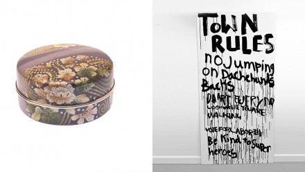 """Image of enamel box and image of """"Town Rules"""" sign"""