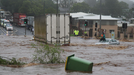 Trapped woman on car roof during flash flood in Toowoomba