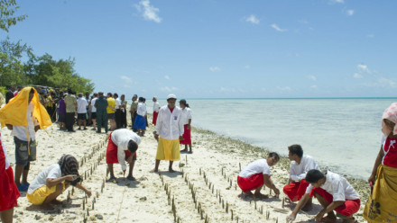 Image: Mangrove shoots being planted on Tarawa, an atoll in the Pacific island nation of Kiribati to protect against coastal erosion. UN Photo/Eskinder Debebe