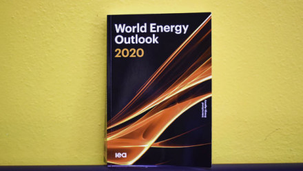 The World Energy Outlook 2020 report against a yellow wall.