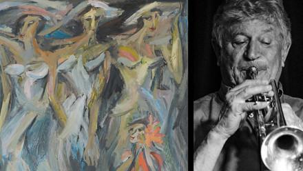 Jon Molvig, The Bridesmaids (detail) 1956, oil on masonite, 152.4 x 122 cm and Portrait of Jazz Trumpeter Miroslav Bukovsky, The Australian 2015