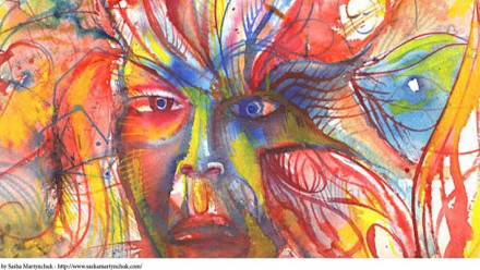Image of a colourful face
