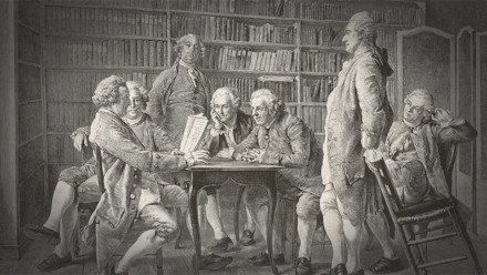 Men around table